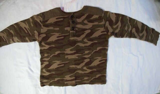 Gap Boys Camouflage Long Sleeve Thermal Henley Top Size Large