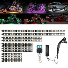 12pc Motorcycle RGB LED Neon Under Glow Lights Strip For Universal 12V 120 LEDs