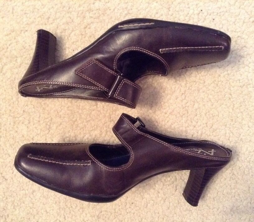 EUC! Womens A2 By Aerosoles Upper Two Beauty Brown Leather Upper Aerosoles Slip On Heels Sz 7M 082270