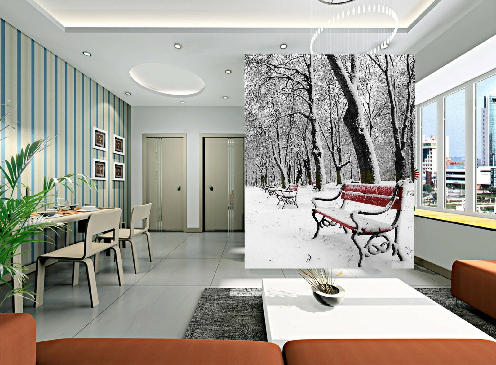 3D Park Tree Snow 725 Wallpaper Mural Wall Print Wall Wallpaper Murals US Lemon