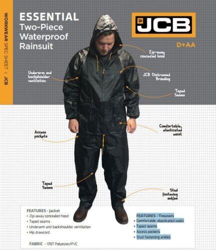 JCB Mens Rain Jacket Trousers Waterproof Black Heavyduty 2 Piece Rain Suit Size