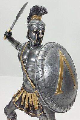 """13"""" SPARTAN GREEK WARRIOR Statue HOPLITE SHIELD SWORD Pewter & Gold Color"""