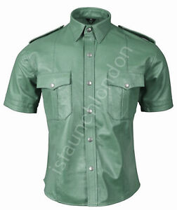 Mens-HOT-Genuine-Real-ARMY-GREEN-Sheep-Leather-Police-Uniform-Shirt-BLUF-Gay