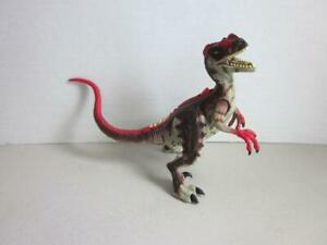 Jurassic-Park-III-Dinosaure-RE-AK-Atak-Raptor-rouge-avec-son-travail-8-034-2000-Kenner