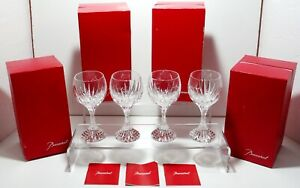 4-BACCARAT-CRYSTAL-MASSENA-BORDEAUX-WINE-GLASSES-4-DOUBLE-SIGNED-5-7-8-034