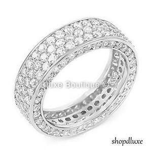 WOMEN'S ROUND CUT AAA CZ STERLING SILVER ETERNITY WEDDING BAND SIZE 4-11