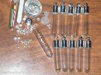 10pc Lot Findings Vial Pendants Tube Round Bottom Glass 6mm Fill Bottles Charms