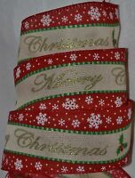 Wired Ribbon2.5merry Christmas Redholiday Snowflakewovenwreathgiftbow