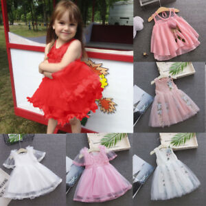 Toddler-Baby-Girls-Sleeveless-Solid-Tulle-Skirt-Floral-Party-Princess-Dresses