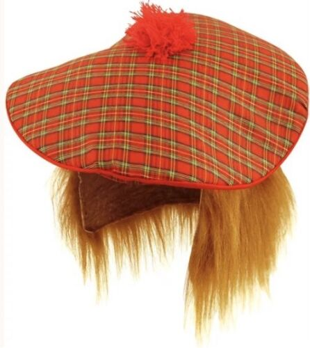 HAIR TARTAN SCOTLAND SCOTTISH HAT BURNS NIGHT UK SLR FANCY DRESS TAM-O-SHANTER