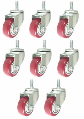 """Pack of 8 Caster Wheels Swivel Plate on Red Polyurethane Wheels 4/"""" with stem"""