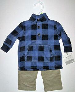 ddabb99938d NWT Outfit Carters Blue Plaid L Sleeve Shirt Tan Corduroy Pants Boy ...