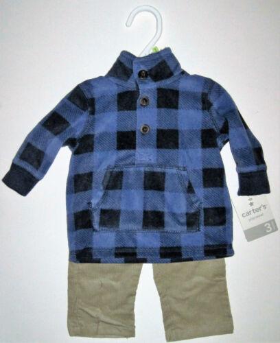 NWT Outfit Carters Blue Plaid L Sleeve Shirt Tan Corduroy Pants Boy 18 mos twins