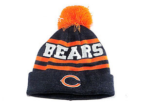 2af69e078 Chicago Bears Knit Hat Cap Dark Gray w Orange Stripes Orange Pom ...