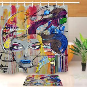 Bathroom Set Graffiti Mural Street Art Shower Curtain ...