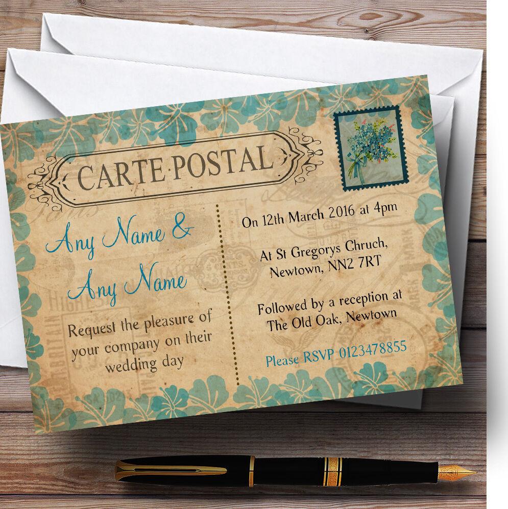 Carte Postale Rustique cachet turquoise cachet Rustique faire-part personnalisé b23c7d