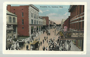 Vintage Postcard- Franklin Street Natchez, Mississippi, Circa 1920, Unposted