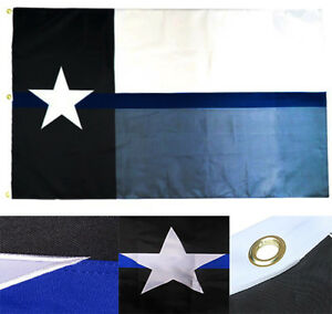 3x5 Embroidered Police Thin Blue Line Texas State 600D 2ply Nylon Flag 3'x5'
