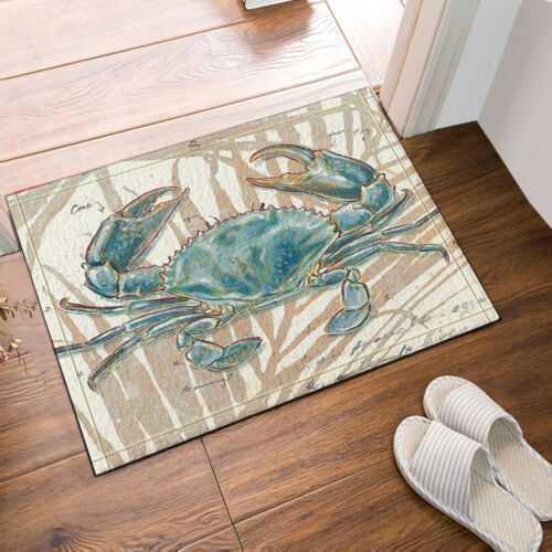 Hand Painted Blue Crab Floor Rug Carpet Mat Bathroom Mat Non-slip Pad 40x60cm
