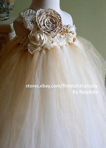 Vintage bride flower girl tutu dress Wedding photograph Pageant ivory tan