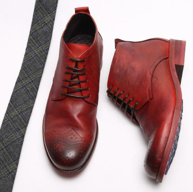 2 color Fashion Men's Round Toe Lace Up High Top Oxford Retro Real Leather Boots