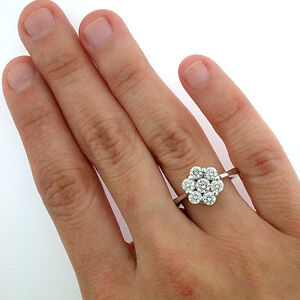 14k White Gold Diamond Flower Cluster Ring 1 27 Carats