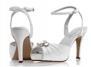 bf896226e6f Image is loading Ivory-satin-bridal-bridesmaid-wedding-shoes-size-3-