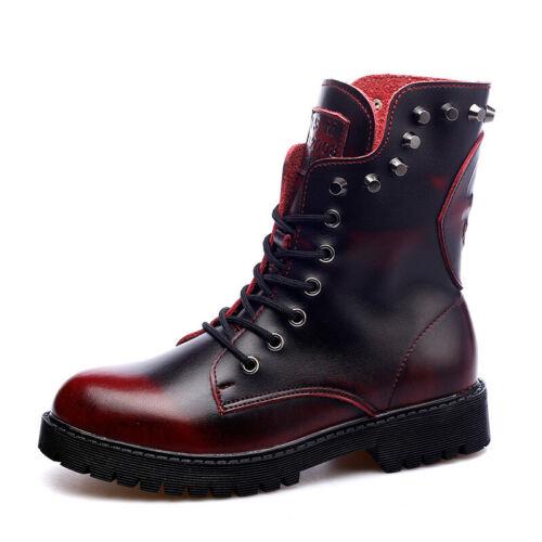 Details about  /Punk Retro Back Zip Lace Up Rivet Biker Boots Winter Casual Warm Leather Bootie