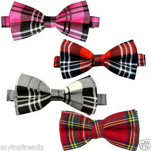 Bow Tie Mens NEW Bowtie Adjustable Dickie TARTAN CHECK PALE GREEN BLACK