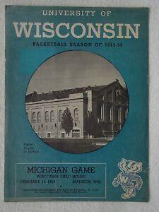 Vintage-1953-BADGERS-vs-MICHIGAN-College-BASKETBALL-PROGRAM-University-WISCONSIN