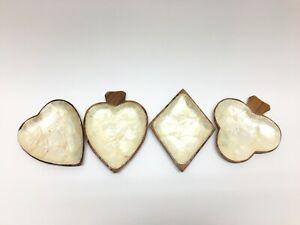 Vintage-Mother-of-Pearl-4-Wood-Trays-Suit-Shapes-Diamond-Club-Heart-Spade-Bridge