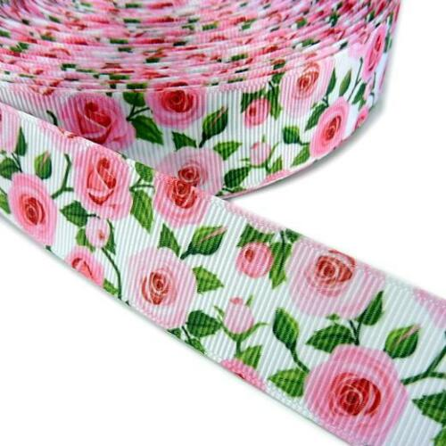 Buddly Crafts 25mm Rose Print Grosgrain Ribbon - 2m Pink on White