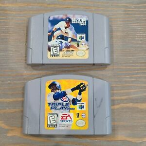 Lot-of-2-Nintendo-N64-Baseball-Games-Triple-Play-2000-amp-All-Star-Baseball-Cart