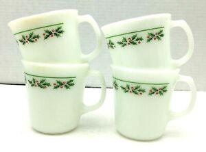 Corning Ware Pyrex Holly Days Mugs Christmas Holiday Black Veins 4 Cups