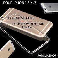 Housse étui pochette coque transparent souple gel silicone iphone 6 4.7 + film