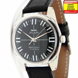 Hmt Pilot Manual 17 Detalles Reloj De Jewel Negro Cuerda Vintage Tl1JFKc