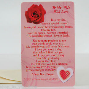 Wallet card to my wife with love keepsake sentimental romantic verse image is loading wallet card to my wife with love keepsake m4hsunfo