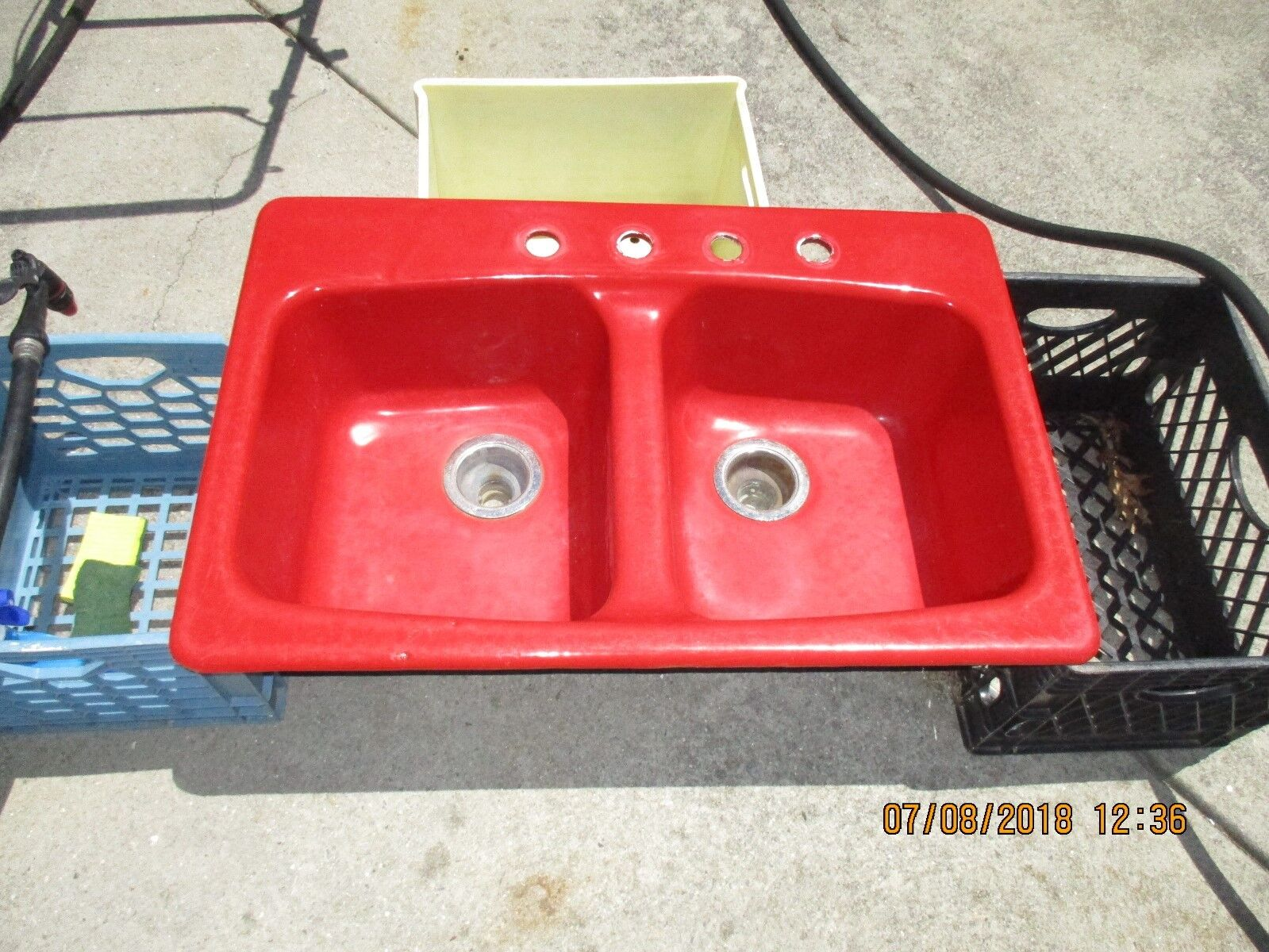 Kohler Cast Iron Double Bowl Drop In Kitchen Sink 4 Holes Red Can Ship For Sale Online