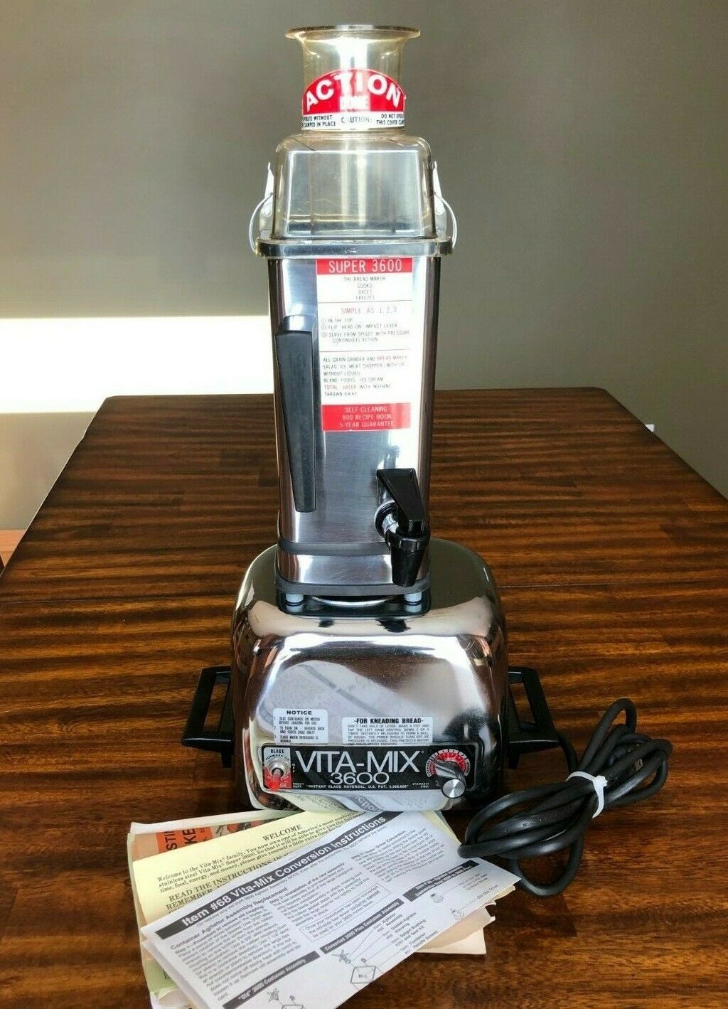 Vintage Vita-Mix Vitamix 3600 Blender inox centrifugeuse mixeur Food Processor