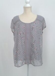 LC-LAUREN-CONRAD-Grey-Swiss-Dot-Baby-Print-Floral-Top-Short-Sleeve-Women-039-s-XXL