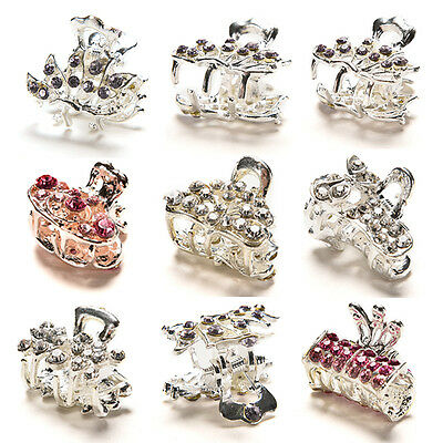 Style New Crystal Flower Mini Hair Claw Clamp Hair Clip Hair Pin KJ7