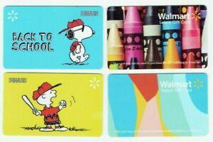 Walmart-Gift-Card-Snoopy-Peanuts-Charlie-Brown-Crayons-LOT-of-4-No-Value
