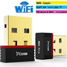 WiFi USB Mini Adapter Gold-Plated Dongle Wireless for Desktop Laptop MAC Windows