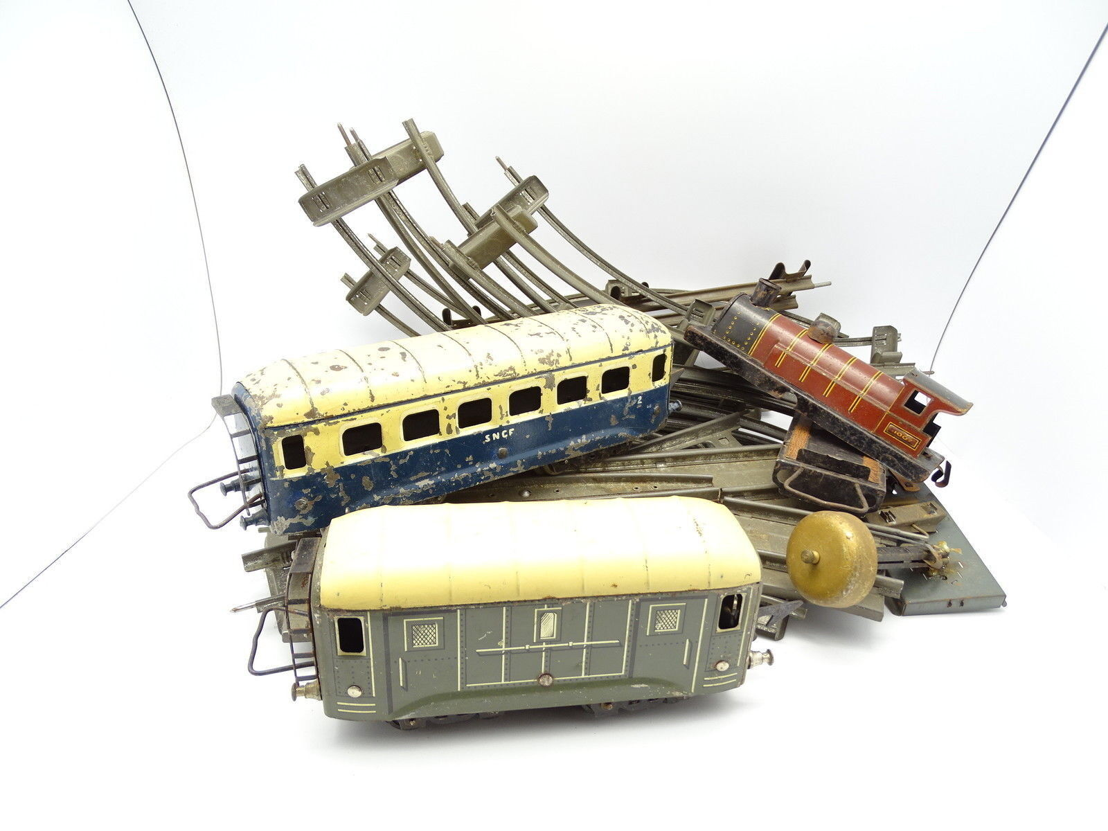 Jep and hornby tin o-lot rails and wagons for parts