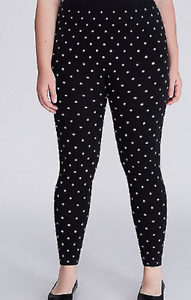LANE BRYANT beautiful polka dot navy elastic waist pull on leggings size C-D
