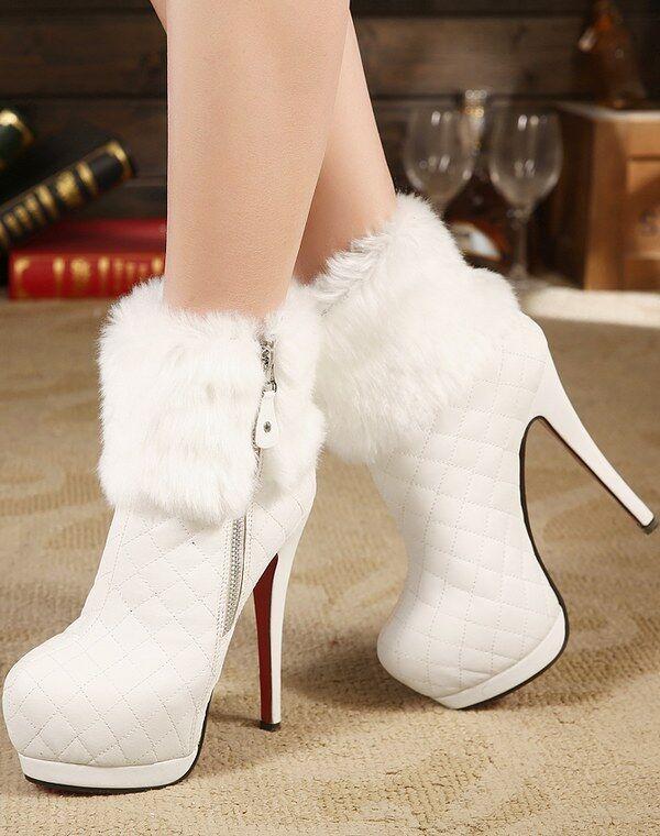 Bottes Basses Chaussures Talons Aiguilles 14 cm Blanc Cuir Synthetique 9322