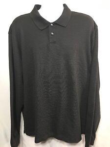 Geoffrey-Beene-Men-s-Long-Sleeve-Black-Gray-Striped-Polo-Shirt-Size-L-Large