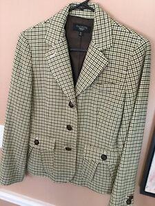 Talbots-New-Black-Tan-Green-Herringbone-Sporting-Jacket-Lux-Wool-Blend-Size-10P