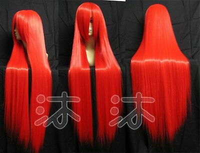 150 New Long Red Cosplay Party Straight Wig 100cm