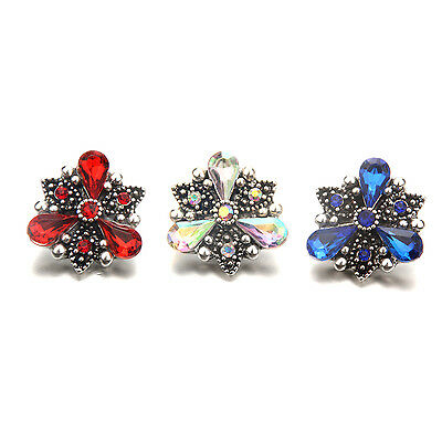 Rhinestone Alloy  18mm  Snaps Buttons Charms Snaps Fit snaps jewelry